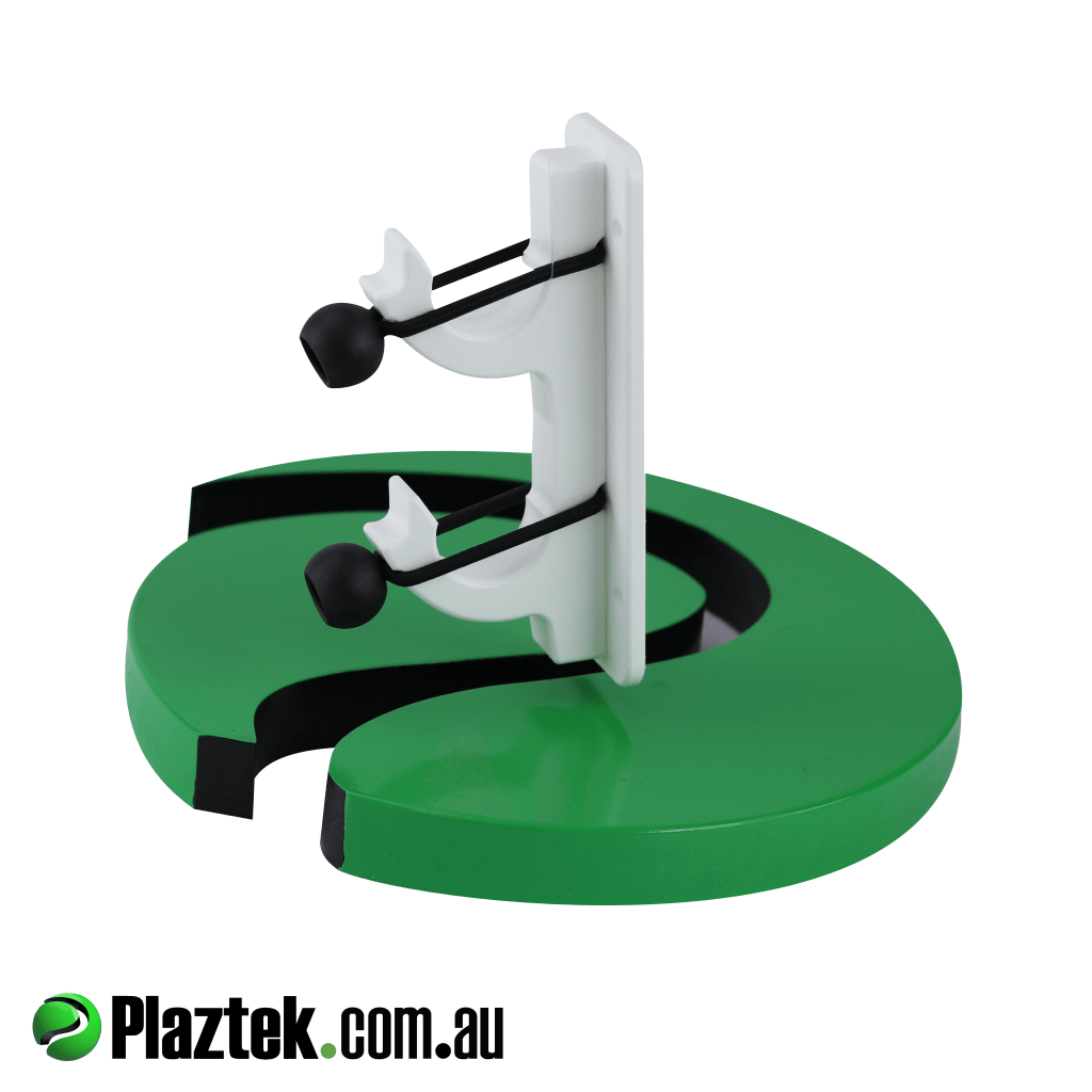 Plaztek boat gaff pole rod holder. Holds two items in place using the marine grade shock cord. Made in Australia.