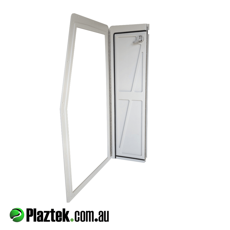 Bi-folding boat locker doors Australian made product by Plaztek, can be custom ordered to suit your size required