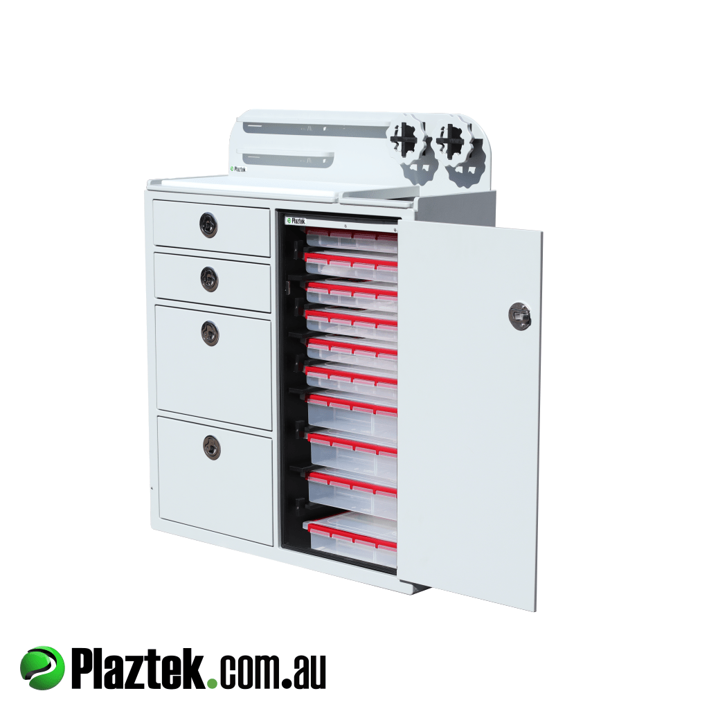 On top of the Plaztek built Cabinet is a multi tool holder so items like knifes and leader can be secured when under way. Made in Australia at Plaztek