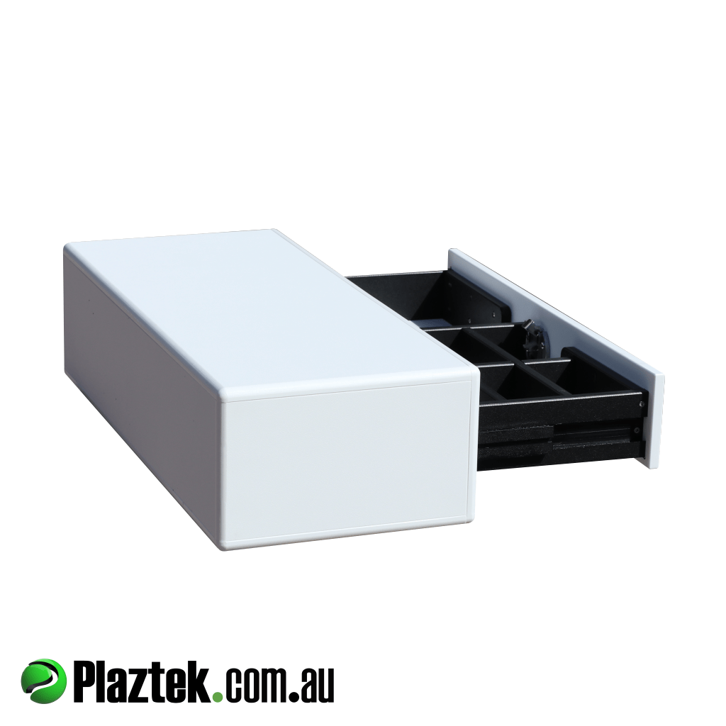 Boat tackle storage single drawer side view made in Australia by Plaztek.