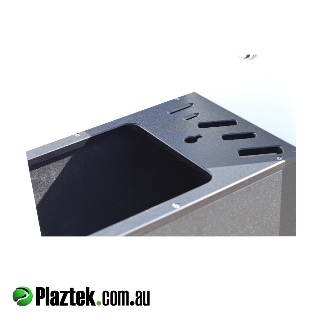 Plaztek custom ideas. Showing where the 15l bin goes and the cut out for items like knifes, and other essential items. Made in Australia.