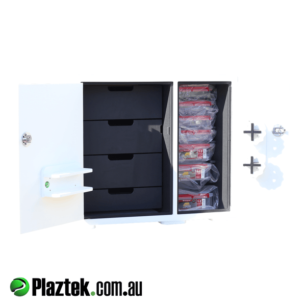 Boat tackle tray with 4 drawers. Both doors open showing 7 Plano tackle trays. Made in Australia.