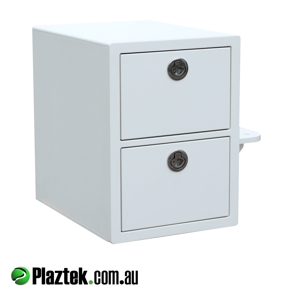 Plaztek boat seat box 2 drawer in Arctic White with stainless steel latches. Made in Australia.