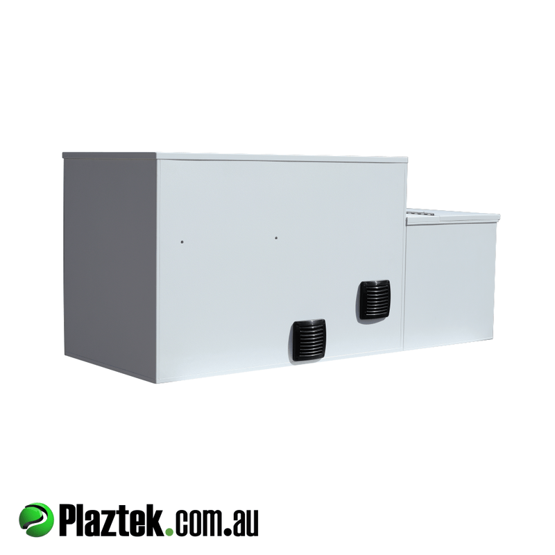 Plaztek-Boat Seat Box With Built In Fridge And Tackle Storage. Back view showing the vents to keep the Isotherm motor cool when in use. Made in Australia using King StarBoard.