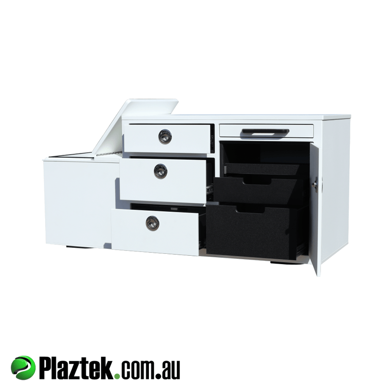 Boat Seat Box  With Built In Fridge And Tackle Storage. Pull out service tray for rigging tackle or food prep. Cabinet has 5 drawers for storage. Made from King StarBoard. Made In Australia.