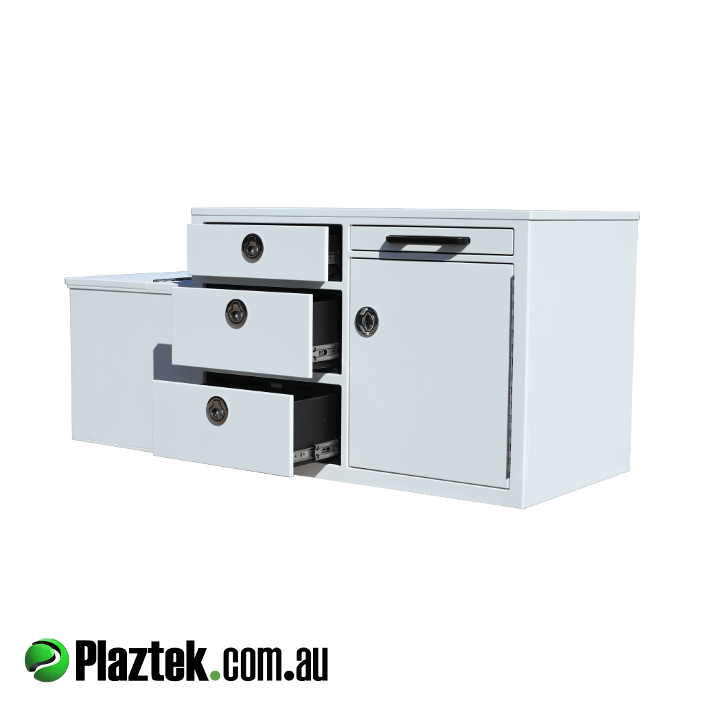 Plaztek-Boat Seat Box Built In Fridge. Has 3 drawers, pull out service tray for prepping. Behind the closed cabinet door is another 2 drawers and landing shelf. Made from white King StarBoard and Made In Australia.
