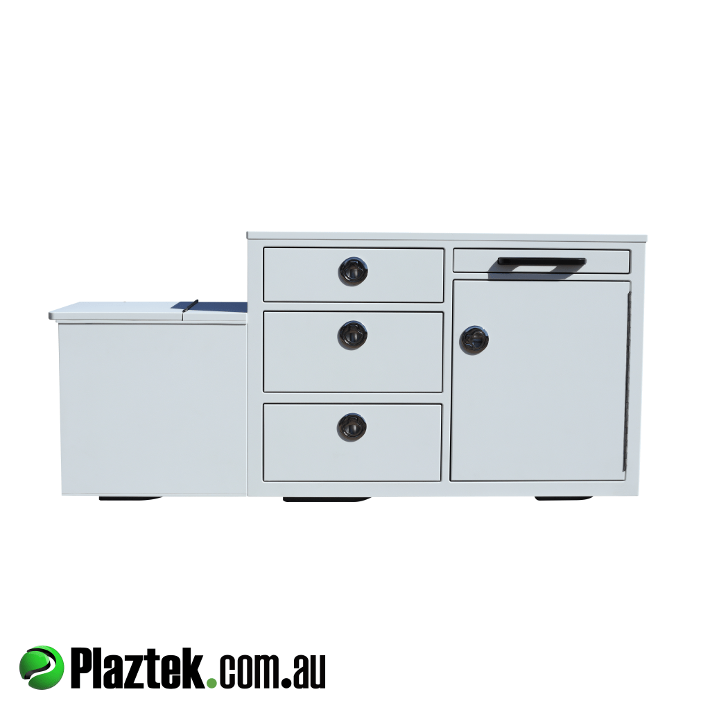 Plaztek-Boat Seat Box With Built In Fridge And Tackle Storage. The 50L fridge along with the drawers offers ample space. Made from King StarBoard.