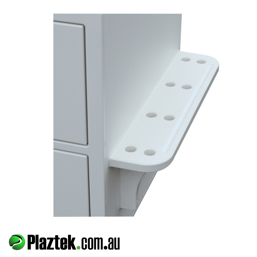 Plaztek custom made boat seat box with 19mm AS Anti Slip foot rest for maximum grip. Made in Australia.