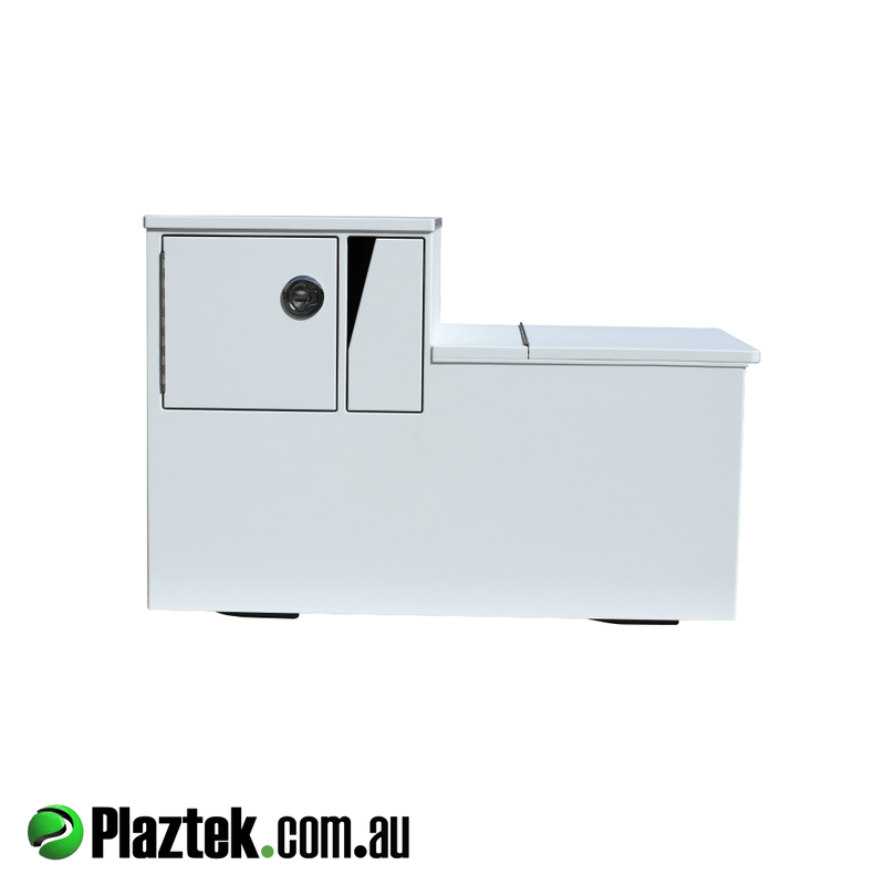 Plaztek-Boat Seat Box With Esky And Tackle Storage. This cabinet will take 4 Plano Tackle Trays and has a pull out Storage Drawer offering more storage. Esky offers 171L and goes under the Tackle Storage. Made from white King StarBoard. Australian Made.
