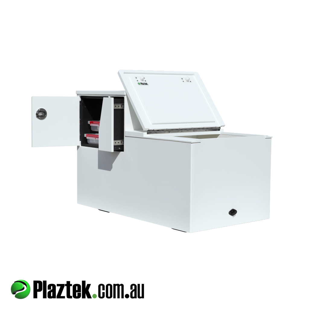 Plaztek-Boat Seat Box With Esky And Tackle Storage . Shown with the Tackle and Esky doors open giving easy access. Esky lid is seal off using Rubber Foam Seal keeping the cool locked in. Made from white King StarBoard and is Made In Australia.