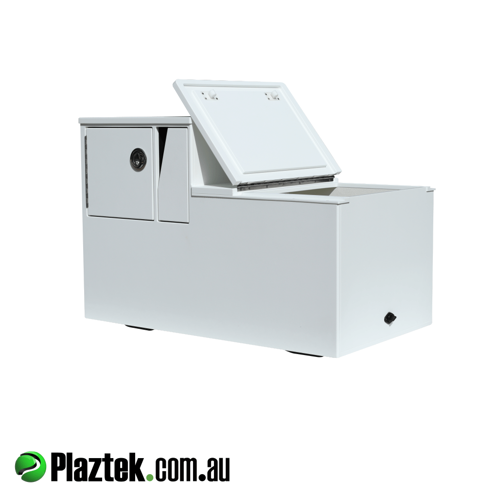 Plaztek-Boat Seat Box With Esky And Tackle Storage . Shown with the 171L Esky door open using 316 S/S Marine Grade Piano hinge. Made from white King StarBoard. Australian Made.