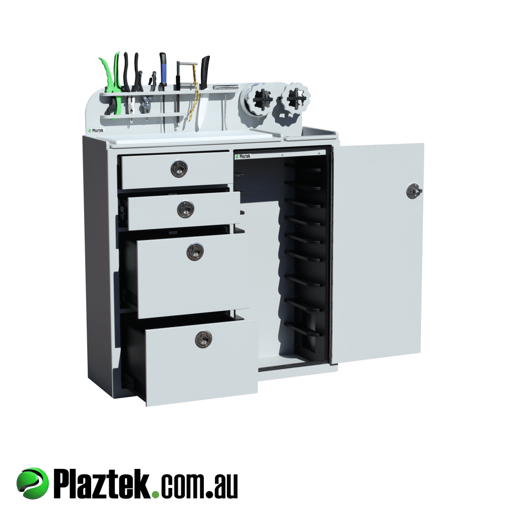 Plaztek Stand Alone Tackle Storage Cabinet will hold 4 large and 6 small Plano tackle trays. Made in Australia