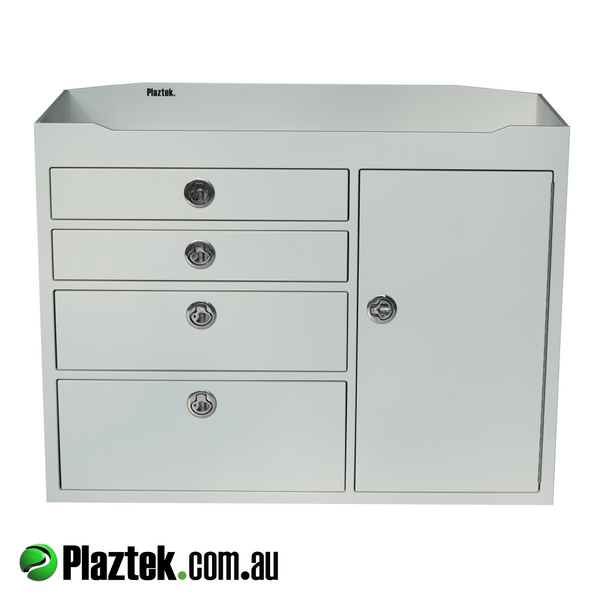 Plaztek Tackle Cabinets and Rigging stations can be custom made to suit your Boat outfitting project, Made from King StarBoard here in Australia
