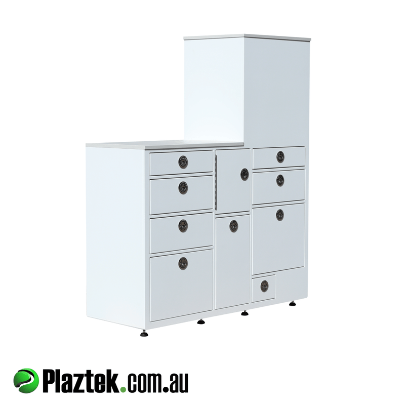 White/Whiter King Starboard is used to construct this Boat Storage Cabinet. Made in Australia.