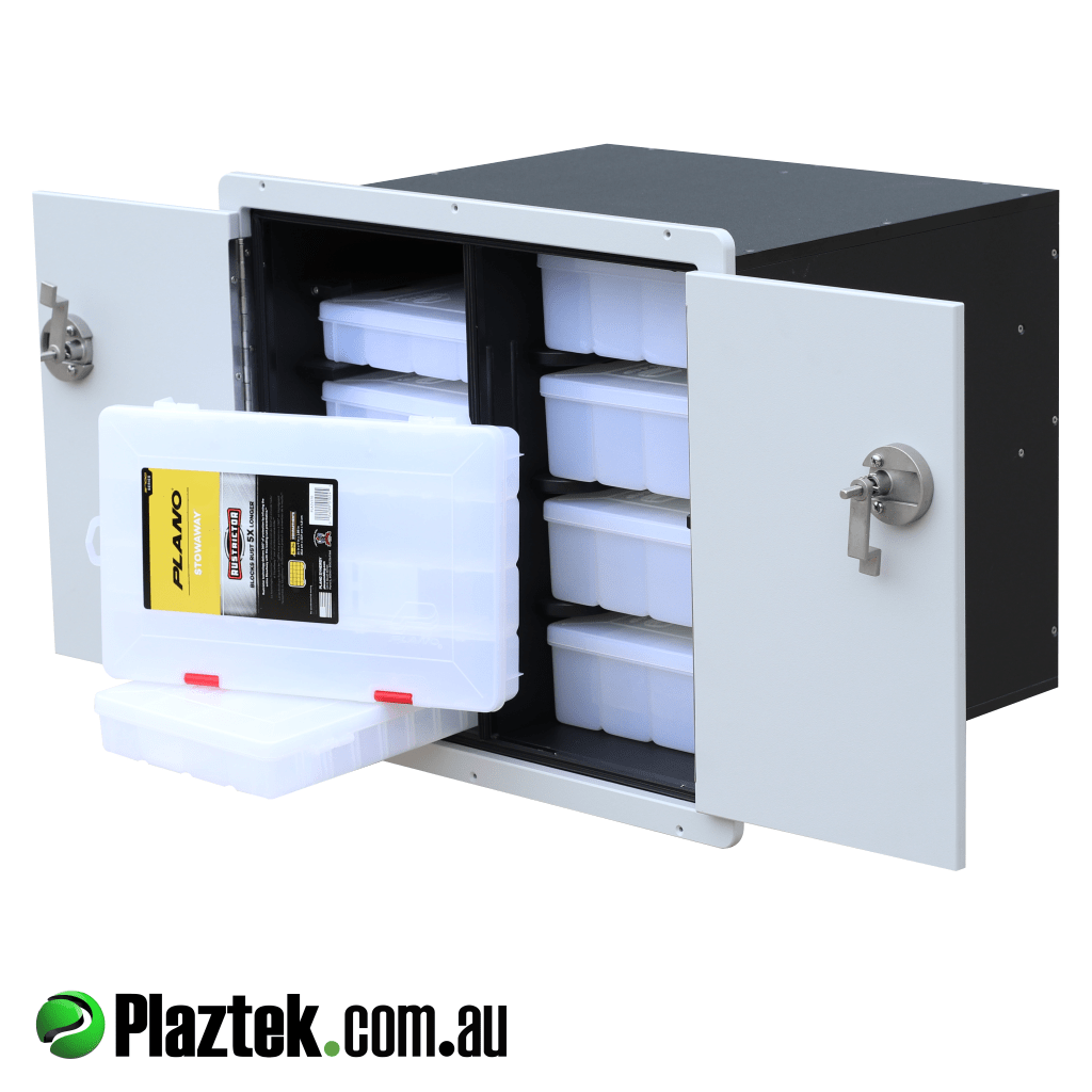 Plaztek tackle tray storage cabinet showing with Plano tackle trays and doors open. Made in Australia.