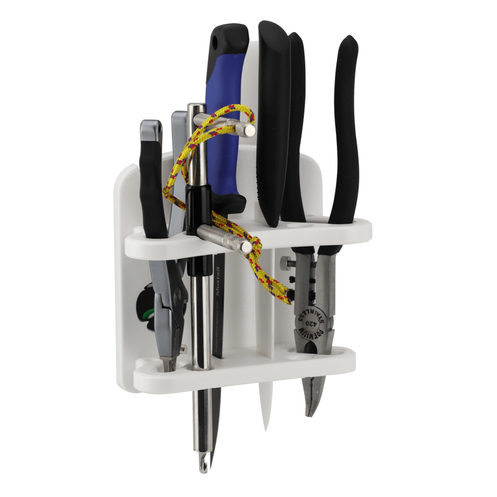 Plaztek Fishing and Boat Tool Holder Multi Fit side view, holds Knifes, Pliers, hook removers and the like