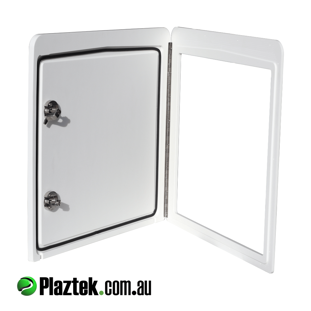 Plaztek Boat Doors and Hatches Custom Made to your size has rebated seal to keep the weather out