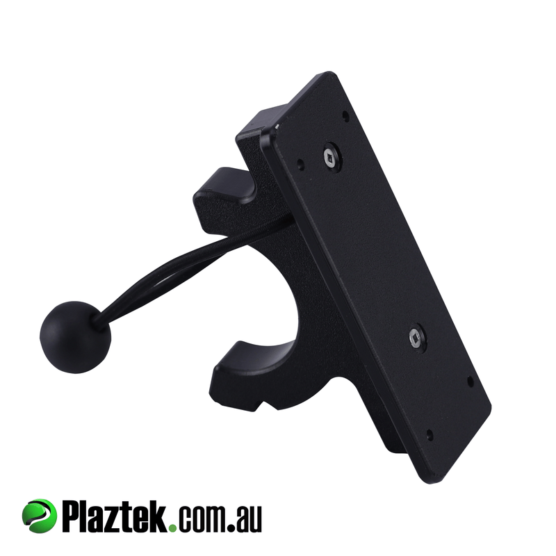 Plaztek Yabby Pump holder in Black King Starboard with backing plate for a screwed fixing