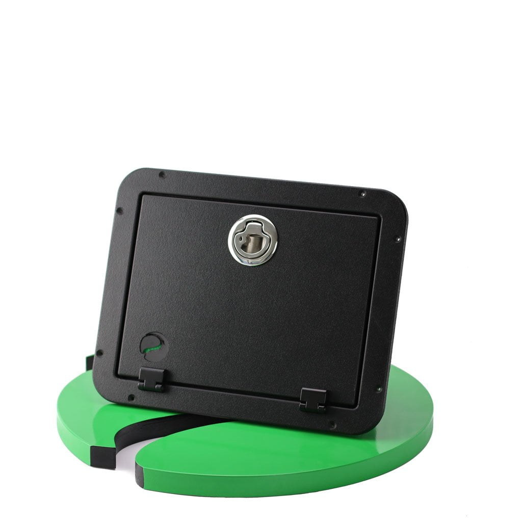 Plaztek Tilt-Out Tackle Storage Small in Recycled Black Plastic with Stainless Latch, Australian Made Fishing Accessory