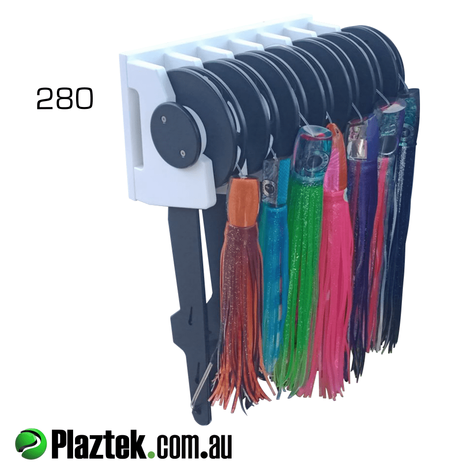 Plaztek Trolling Lure and Leader Holder and rack loaded with 280 size trolling lure and leader holders, ready to mount in your boat