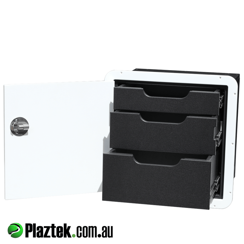 Boat Drawers and Tackle Cabinets by Plaztek, this 3 drawer provides plenty of storage for a limited space