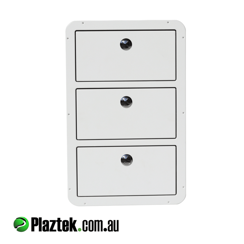 Plaztek Boat Drawers has 3 full slide out drawers giving full access to all your Fishing Tackle Storage, this boat drawer design can be custom made to suit your cut out size