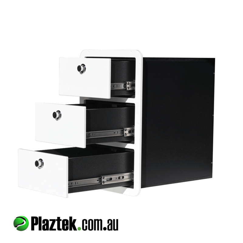 Plaztek Boat Drawers a 3 Drawer tackle Storage, has Marine grade drawer runners to provide full access to your Fishing Tackle made from Marine Polymer plastic and suited for out doors