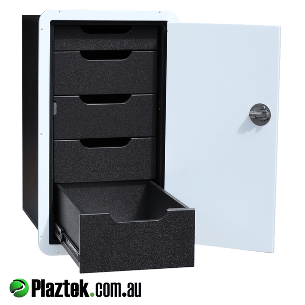 Plaztek Boat Drawers offer a durable marine cabinet that will last in its environment has 5 drawers behind door that closes onto rubber seal