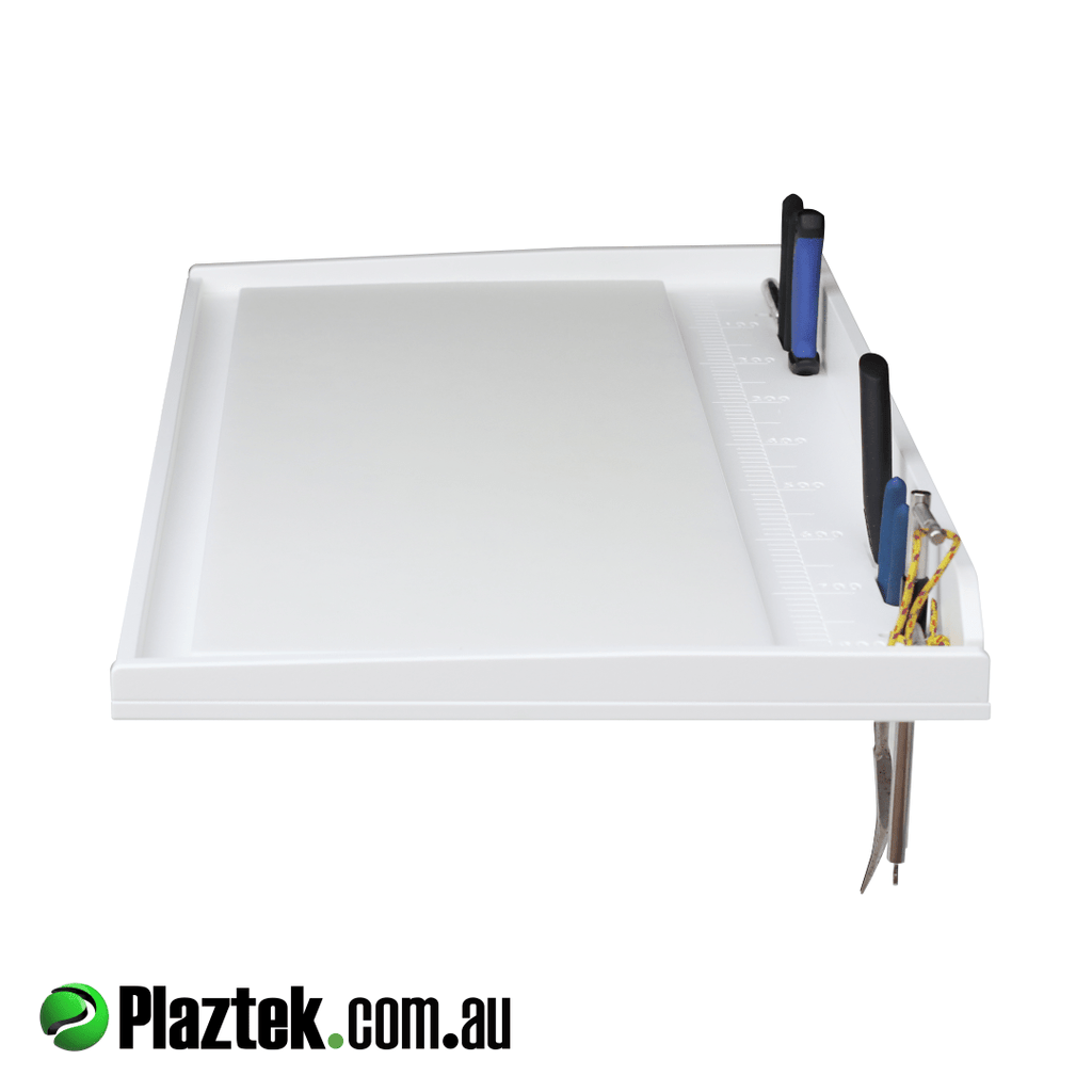 Plaztek Australian Made Bait Board Table with Fishing Tool Holders and Fish Rule