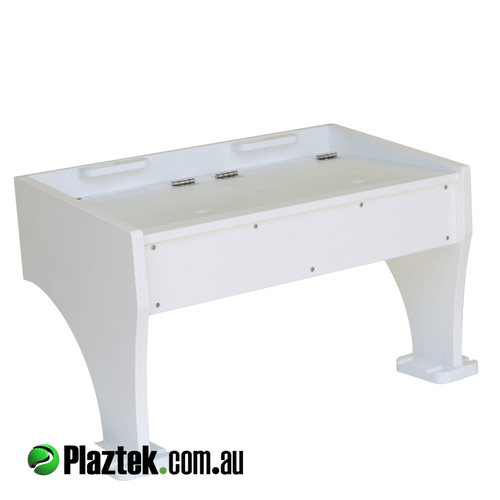 Plaztek BaitBoards Custom made in Australia, handy Bait defrost Bin and drain, and Boat fishing Tool holders built in