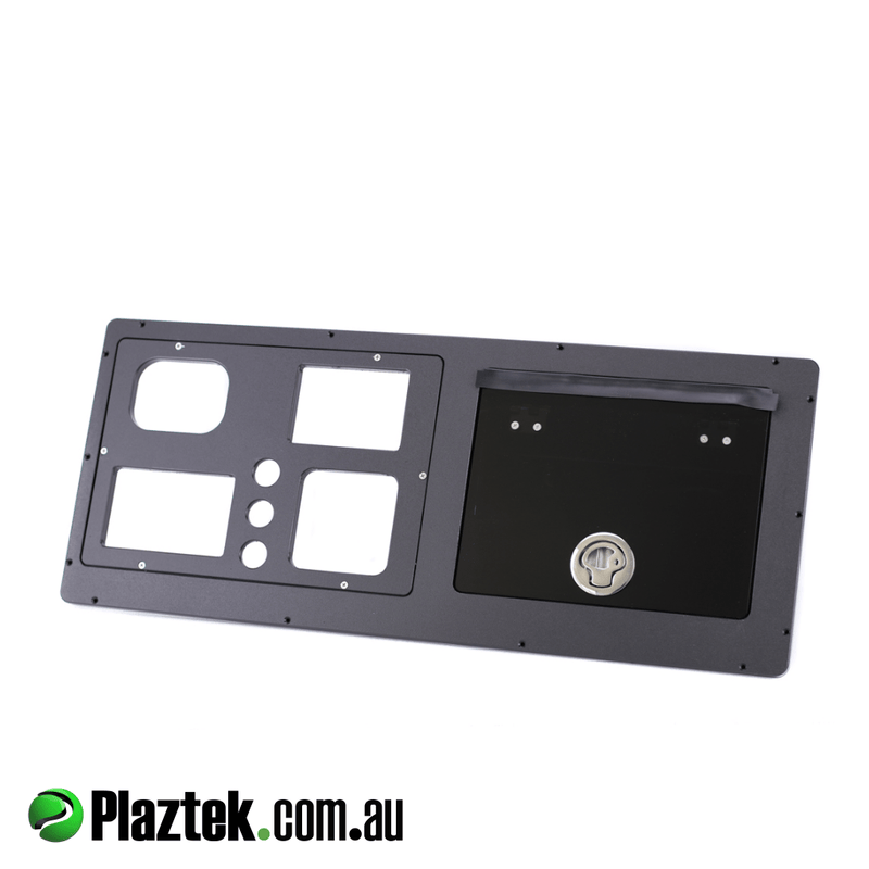 Boat glove box and dash built by Plaztek in Australia, made from black King StarBoard