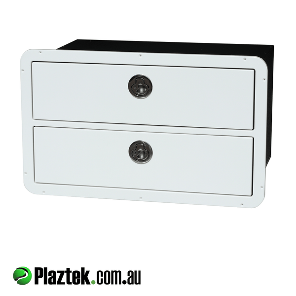Plaztek boat drawers in white white King StarBoard®️ 316 SS locking latch and our zero maintenance Drawer runners