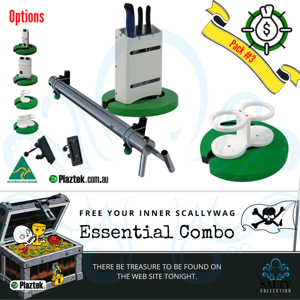Plaztek Essential Combo Deals Pack #3 Double knife with plirer holder, yabby pump holder and double drink holder. Made in Australia using King StarBoard.