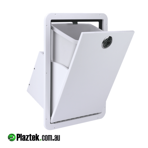 Out door Tilt-Out rubbish bin, great for your boat caravan or camper, comes with 15L bin made in Australia by Plaztek