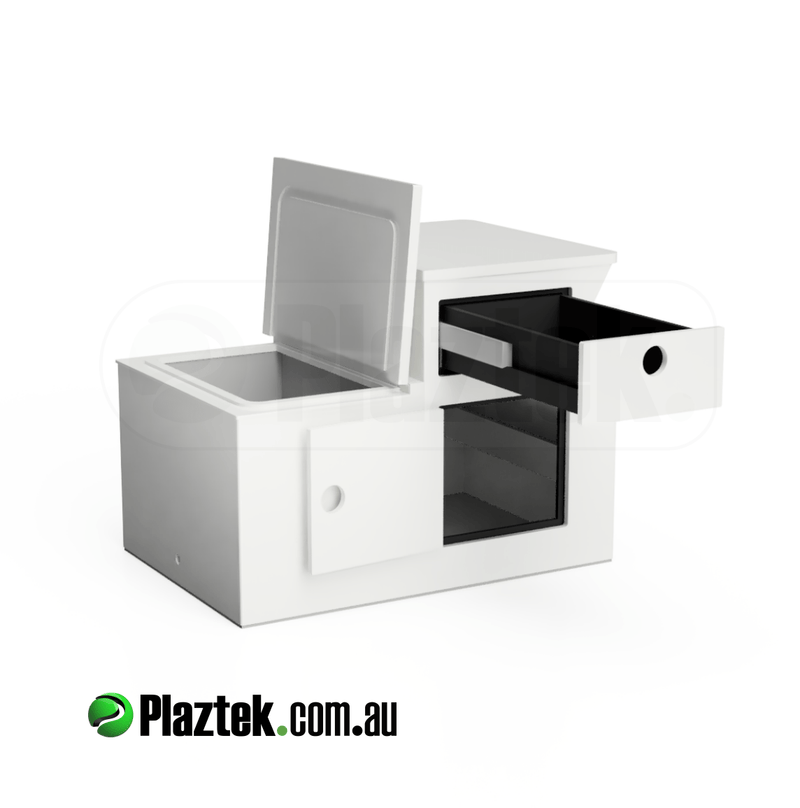 Plaztek Boat Seat Box with small Esky up front and 450mm deep Tackle Drawer and Storage Hatch under