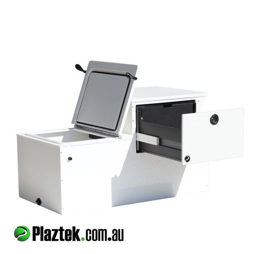 Plaztek Boat Seat Boxes have great insulation for use as esky fish box, also has Tackle tray storage built in, holds 8 Plano 3700 series Tackle Trays making it a great boat outfitting product