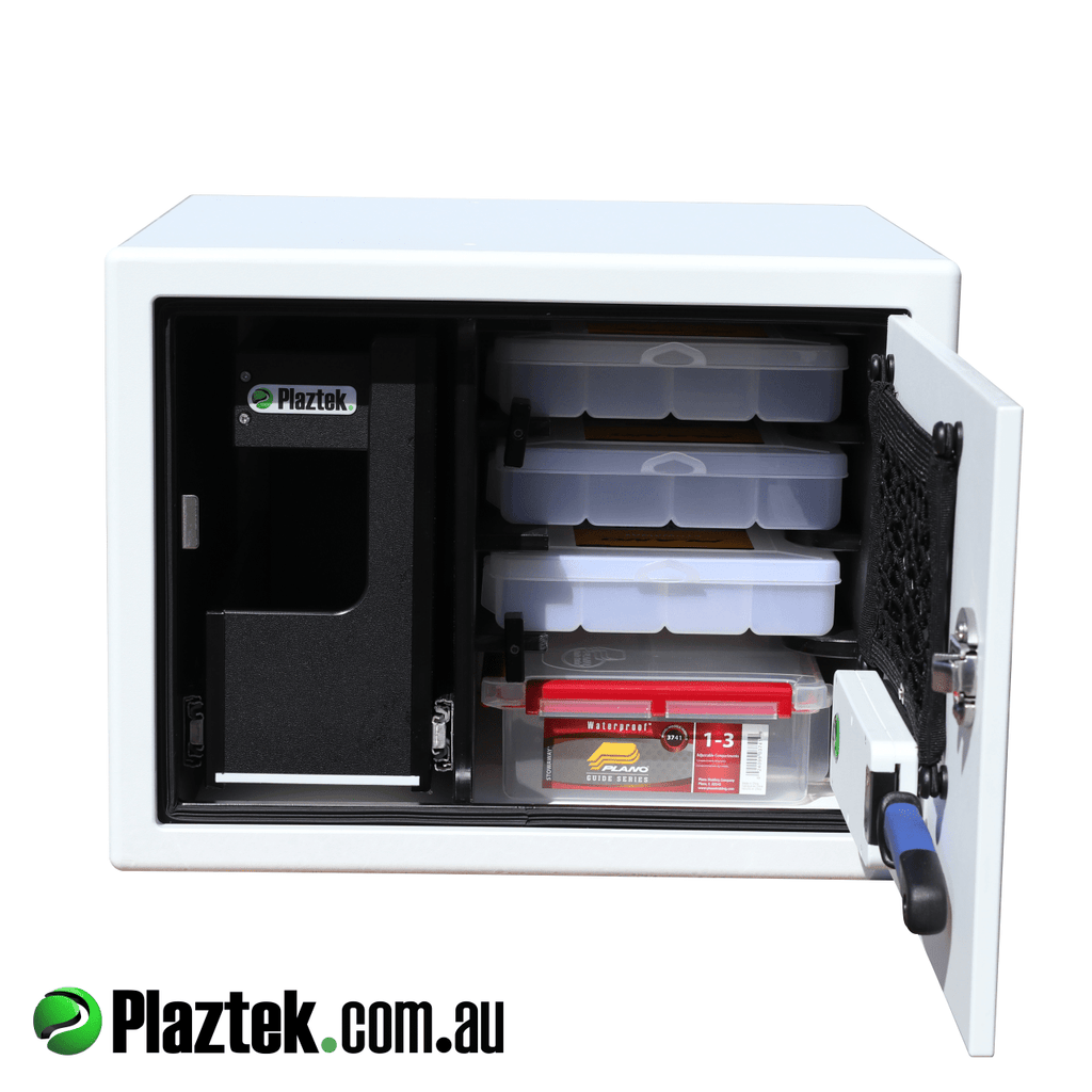 Plaztek boat seat box for side console boats, made from King StarBoard and pictured in white, handy tackle storage built in for all your fishing adventures