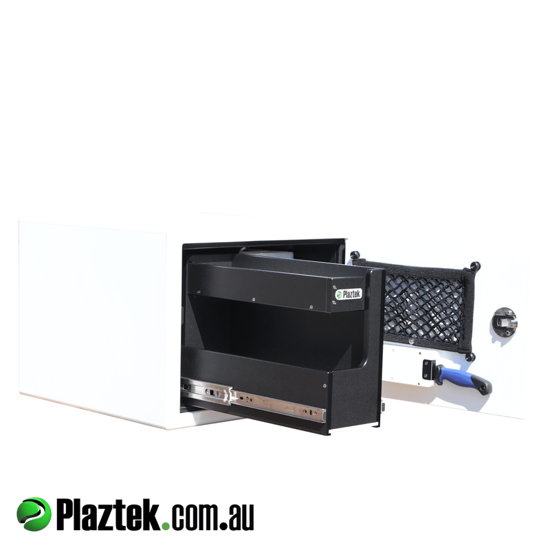 Plaztek seat box with tackle tray storage and pull-out drawer, Australian made product to custom sizes