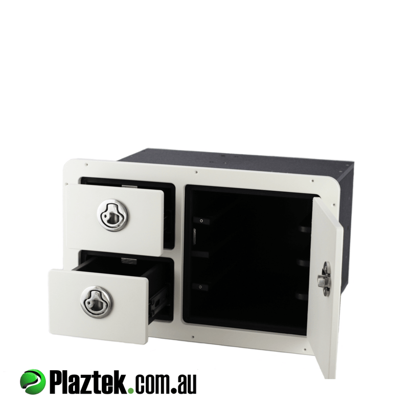 Plaztek Tackle Combo Plano 3700 series trays and two storage drawers in Arctic White King StarBoard