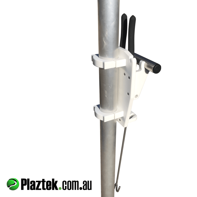 Plaztek Boat Accessory, using our post mount for our fish dehooker and fishing plier holder