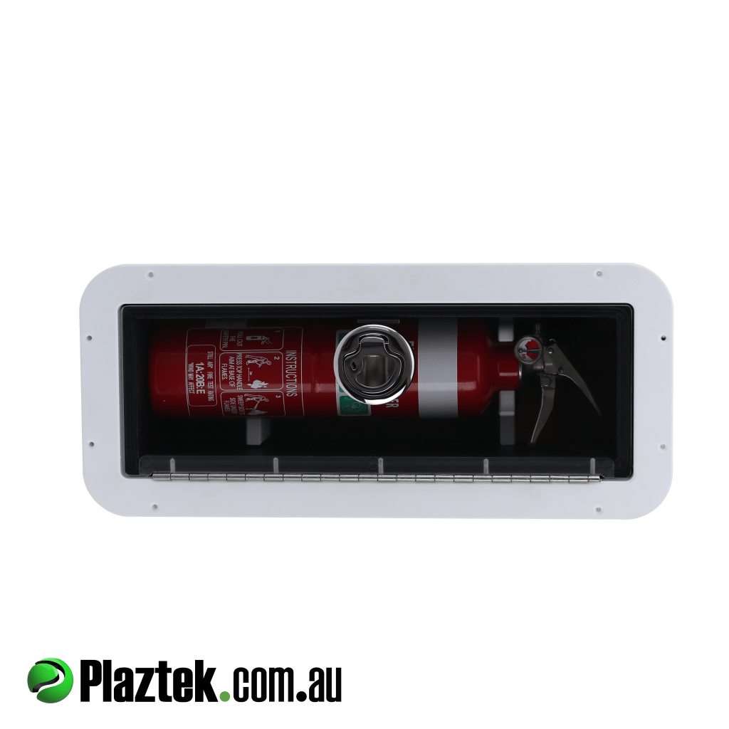 Plaztek Boat Fire Extinguisher Holder, the clear door is a constant reminder of the location of the extinguisher in an emergency