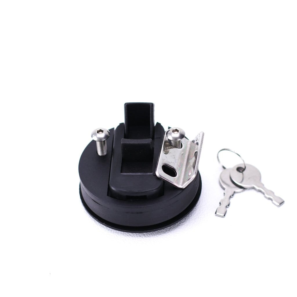 Lockable Slam Latch in Black Plastic Back view with keeper and keys