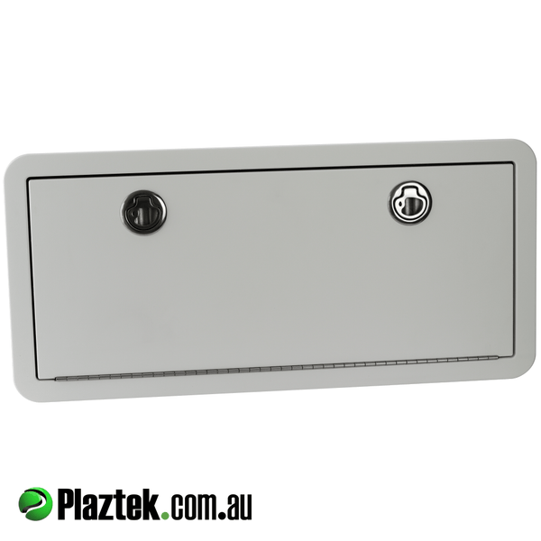 Plaztek Custom hatches in King Starboard a marine polymer board, with Concealed fixings, Marine grade 316 Stainless Steel hardware and door closes onto foam rubber seal to keep the water out