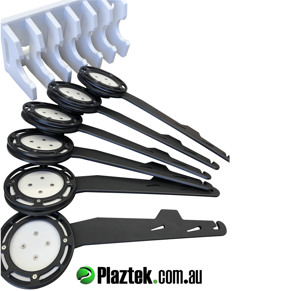 Plaztek Trolling Lure and Leader Holders sold in a Pack of 7, includes Clip-On Clip-Off mounts and a 7 Piece Lure holder rack Australian Made Boat Tackle Storage