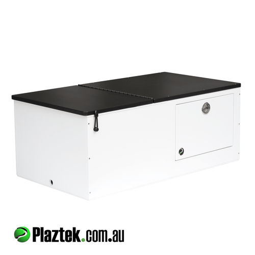 Plaztek Seat Box Esky with built in tackle storage and Black Top for Boat Outfitting