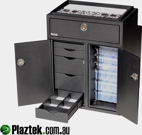 Plaztek Tackle Cabinet Console for Boats plenty of Boat storage drawers and fishing tackle trays, Australian made from marine polymer board