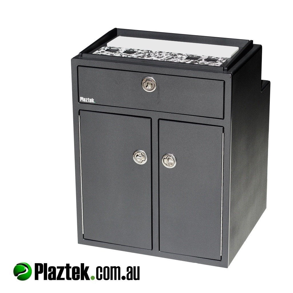 Plaztek Tackle Cabinet Boat storage console with top boat box, Boat drawers in one side and fishing tackle storage trays on the other, Australian made from marine plastic