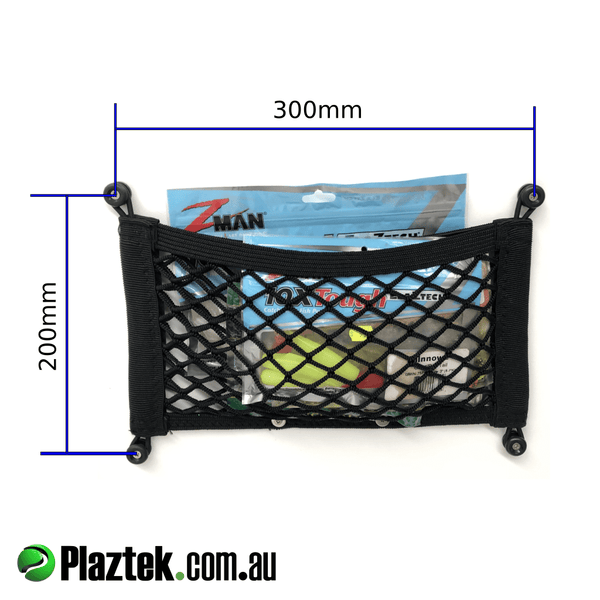 Plaztek heavy duty black Storage Nets for soft plastic lures, leader spools and all sorts of ziplock bag storage. Size 200mm high x 300mm wide