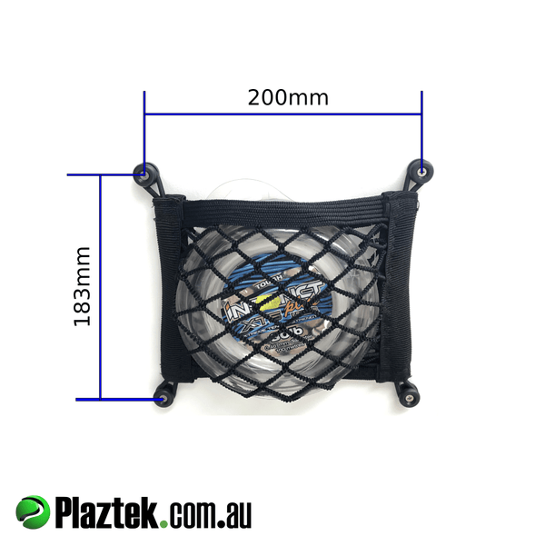 Heavy duty black storage nets for your boat, fit on the back of our boat tackle cabinet doors for extra storage like leader spools, soft plastic lures and the like, size 183mm high x 200mm wide