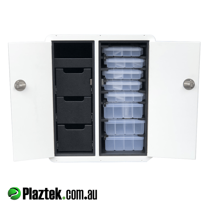 Plaztek Tackle Cabinet 700Hx580W 3 Storage drawers and 8 fishing Tackle tray storage